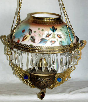 030337 HANGING BRASS AND GLASS ELECTRIFIED OIL LAMP