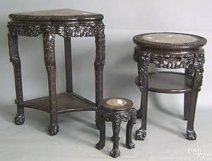 Three Chinese carved marble top stands