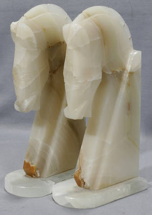 071511 ART DECO STYLE CARVED ONYX HORSE HEAD BOOKENDS