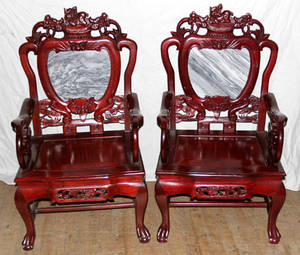 052351 CHINESE CARVED ROSEWOOD  MARBLE ARMCHAIRS