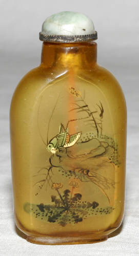 041513 CHINESE PAINTED GLASS SNUFF BOTTLE