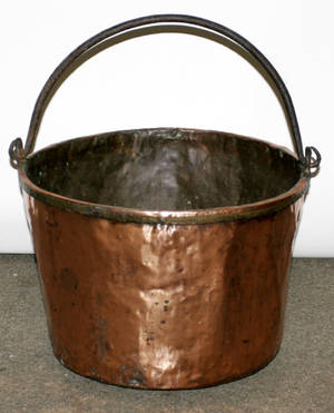 031507 COPPER CAULDRON WITH IRON HANDLE
