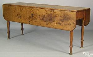 New England pine and birch harvest table early 19th c