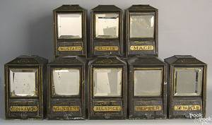 Rare set of 8 painted spice tins 19th c