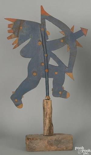 Sheet iron Indian chief weathervane late 19th c