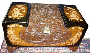 070385 CHINESE CARVED TEAK CEDAR CHEST