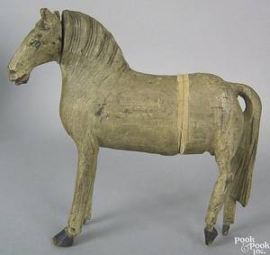 Folk art carved and painted pine figure of a horse 19th c