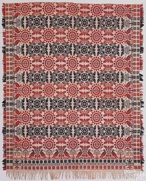 York County Pennsylvania red blue green and white jacquard coverlet by Martin Hoke
