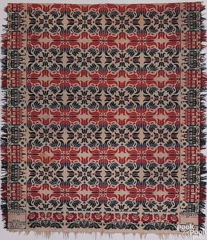 Millersville Pennsylvania red blue green and white jacquard coverlet by I Myer