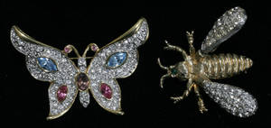 031543 KENNETH LANE COSTUME RHINESTONE BUTTERFLY AND B