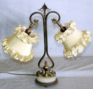 030434 FRENCH BRASS AND MARBLE TWO LIGHT BOUDOIR LAMP