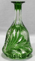 071592 GREEN OVERLAY CUT CRYSTAL DECANTER
