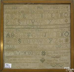 Pennsylvania silk on linen sampler dated 1835