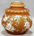041581 AMBER SATIN GLASS COVERED JAR