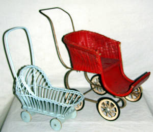 030460 CHILDS TOY WICKER BABY CARRIAGES C1930