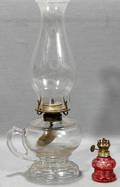 081564 CLEAR  CRANBERRY GLASS OIL LAMPS