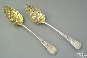 Pair of English silver berry spoons 18041805