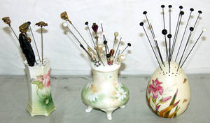 060535 PORCELAIN HAT PIN HOLDERS  PINS