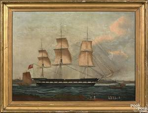 China Trade oil on canvas ship portrait early 19th c