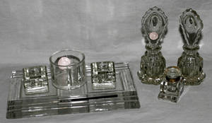 032465 CRYSTAL DESK SET PLUS TWO GLASS PERFUME BOTTLES