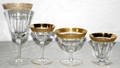 072528 PARTIAL CRYSTAL STEMWARE W FIRED GOLD BANDS