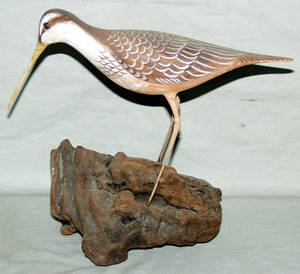 080530 WOOD SCULPTURE ON DRIFTWOOD BASE WOODCOCK