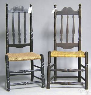 Two New England banisterback side chairs