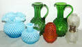 060543 HOBNAIL GLASS PITCHERS OIL LAMP  VASE