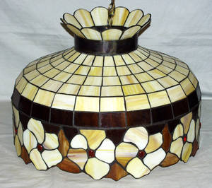 030519 TIFFANY STYLE LEADED GLASS HANGING LAMP C 194