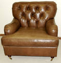 081009 BAKER BROWN LEATHER LOUNGE CHAIR