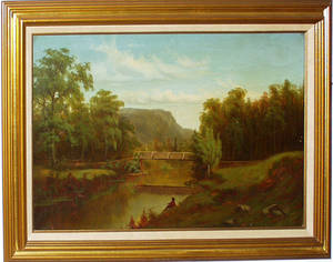 071050 WILLIAM H LANGWORTHY OIL ON CANVAS BRIDGE