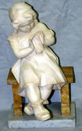 070031 MARBLE SCULPTURE GIRL SEATED W HANDKERCHIEF