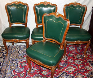 070021 VICTORIAN GILT WOOD  LEATHER SIDE CHAIRS
