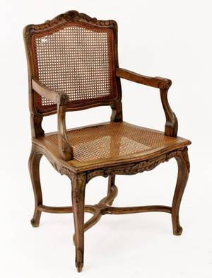 Pair of French Carved Walnut Caned Armchairs