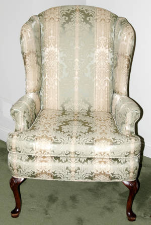 060033 QUEEN ANN STYLE WING BACK MAHOGANY ARM CHAIR
