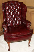060028 WING BACK MAHOGANY  RED LEATHER ARM CHAIR