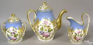 Paris or German porcelain 3pc tea service