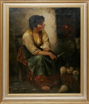 040016 Z L RONEY OIL ON CANVAS ON BOARD PEASANT GI