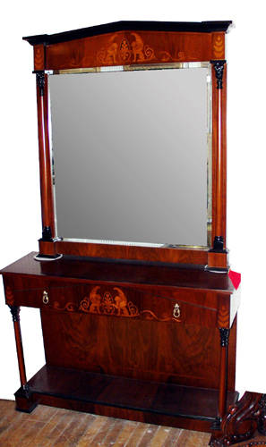 032060 NEOCLASSICAL STYLE MAHOGANY CONSOLE AND MIRROR
