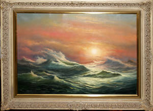 032030 LUDWIG MUNNINGER OIL ON CANVAS SEASCAPE