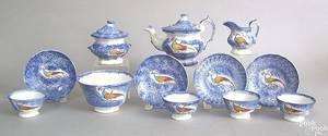 Fine miniature vibrant blue spatter teaset