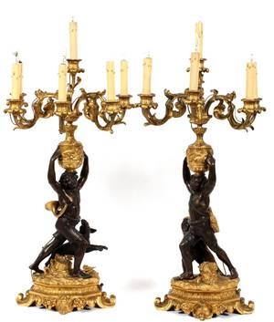 FRENCH BRONZE FIGURAL SIXLIGHT CANDELABRA PAIR