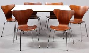 DANISH MID CENTURY MODERN DINING TABLE  CHAIRS 7