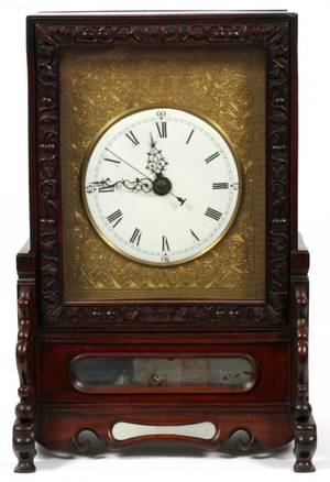 19TH C CHINESE ROSEWOOD MANTEL CLOCK H