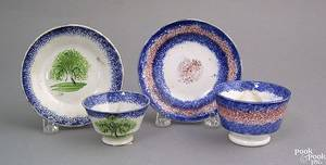 Miniature blue spatter cup and saucer