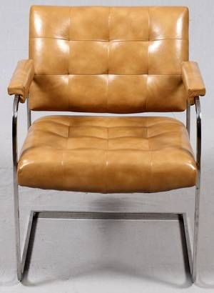 PATRICIAN FURNITURE CO LEATHER CHROME ARMCHAIR