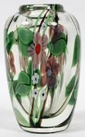 ORIENT  FLUME GLASS PAPERWEIGHT VASE