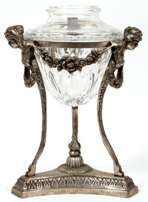 FRENCH STYLE CRYSTAL VASE IN STAND