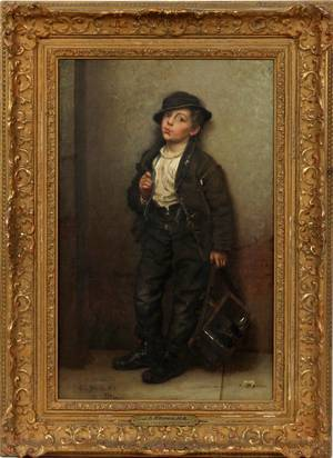 JOHN GEORGE BROWN OIL ON CANVAS 1881