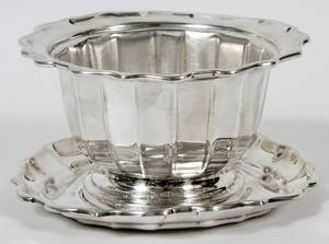 FRANK SMITH SILVER COCHIPPENDALE BOWL AND UNDERPLATE